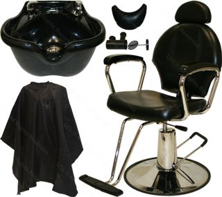 Reclining Hydraulic Barber Chair Heart Shape Fiber Shampoo Bowl Salon Equipment