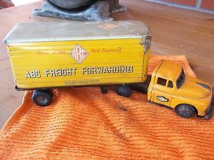 Vintage 1980 ABC Moving All Metal Tractor Trailer Truck Toy Kids Display Old