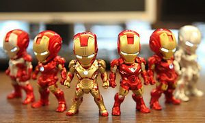 Kids Logic Hot Mini Egg Attack Iron Man LED Earphone Plug Toys 6 Figure