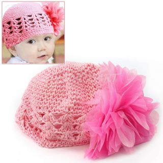 Hot Pink Sweet Cute Crochet Flower Beanie Hat Cap Newborn Baby Toddlers Girls