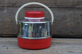 Vintage Thermos Picnic Jug Water Cooler Retro Red Chrome Stainless Steel