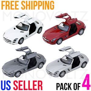Mercedes Benz SLS AMG 1 36 Pull Back Car Toy for Kids Gift Die Cast 4 Cars Pack
