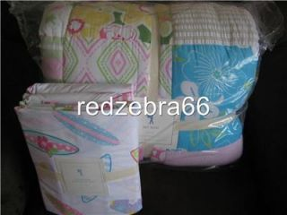 Pottery Barn Kids Girl Pink Key West Full Quilt Surfboard Sheet Set 5 PC New