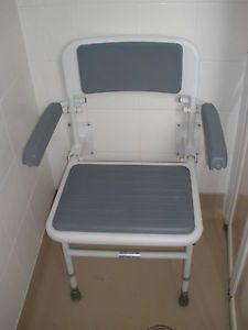 Wall Mounted Folding Fold Down Shower Seat Chair with Padded Backrest Arms