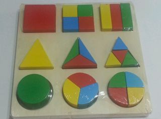 Wooden Geometry Block Puzzle for Montessori Early Learning Kids Educational Toy