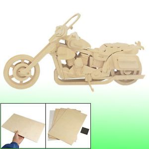 Kids Harley Davidson Motorcycle Model 3D Woodcraft Construction Kit Puzzle Toy