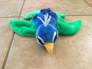 Cal Toy Kids Hand Puppet Peacock Bird Plush Animal Excellent Shape