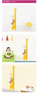 Removable Wall Decal Vinyl Cartoon Giraffe Growth Height Children Kids Chart