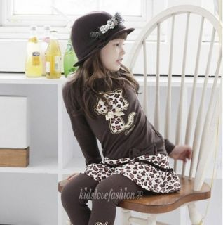 Baby Girls Leopard Cat Design T Shirt Skirt with Leggings 2pcs Set White Brown