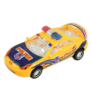 Flashing Music Battery Powered Plastic Police Car Toy Yellow Blue for Kid