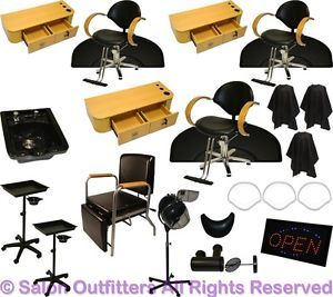 3 Styling Stations Hydraulic Oak Barber Chair Shampoo Bowl Dryer Salon Equipment