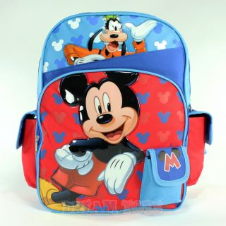 "Disney Mickey Mouse Goofy Print 16"" Large Backpack Bag School Boys Kids"