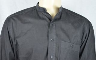 Wrangler Black Banded Collar Western Shirt Men's Sz 15 5 x 34 100 Cotton