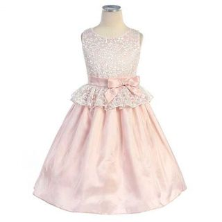 Sweet Kids Little Girls 5 Pink Lace Peplum Easter Dress
