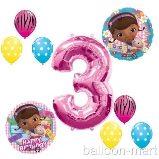 3rd Birthday Doc McStuffins Balloons Girls Party Supplies Hot Pink Zebra Third