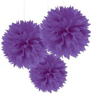 Large Fluffy Purple Pom Pom Decoration Bridal Baby Shower Birthday Party Lantern