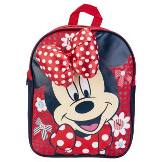 Kids Girls Red Disney Minnie Mouse Design Zip Up School Backpack with Bow Bag