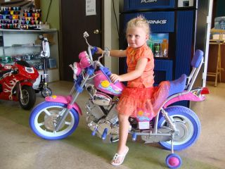 Hot Pink Kids Harley Style Power Ride on Motorcycle 6V Wheels Pink Harley Girls