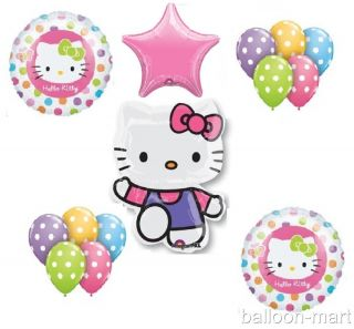 Hello Kitty Birthday Party Supplies Mylar Balloons Decorations Set Kit Polka Dot