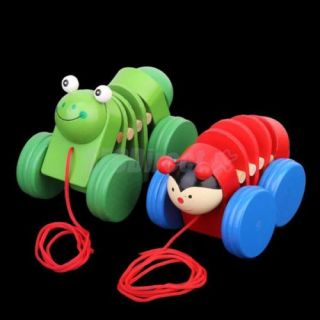 Random One Wooden Worm Shaped Flexible Pull Fun Toy for Kids Bright Attractive
