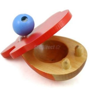 Fish Shape Wooden Castanet Percussion Musical Instrument Kids Educational Toy