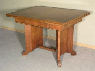 Antique English Walnut Art Deco Drawleaf 5 5ft Dining Pub Table c1930 J02D