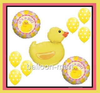 Rubber Duck Balloons Girl Baby Shower Supplies Party Decorations Polka Dots Pink