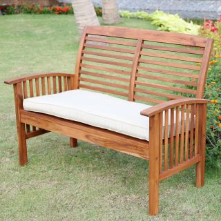 4 Piece Acacia Wood Patio Conversation Set Bench 2 Chairs Table