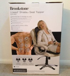 Brookstone I Need Shiatsu Massaging Chair Topper New in Box