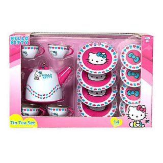New Hello Kitty Tin Tea Set 14 Pcs Children Toy Play Set Party Tea Pot Set