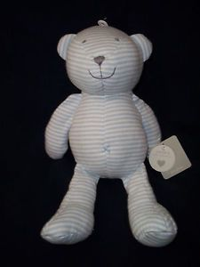 New Stuffed Carter's Baby Toy Blue White Stripe Teddy Bear Little Collection