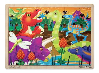 Kids Wooden Jigsaw Puzzles New Melissa Doug Dinosaurs Dino 24 Piece Ages 3