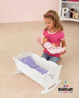 KidKraft White Wood Lil' Doll Kids Baby Cradle