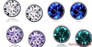 4Pairs Various Fashionable Colorful Pretty Swarovski Crystal Earring Stud 4142