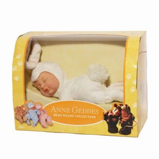 "Anne Geddes Soft Plush Toy Baby Doll Boxed 9"" 23cm Bunny Snow New"