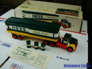 Vintage 1974 Hess Gas Truck Tractor Trailer w Barrels in Original Box