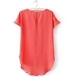 Women's Colorful Hollow Short Sleeve Casual Chiffon Tops T Shirt Blouse 3 Sizes