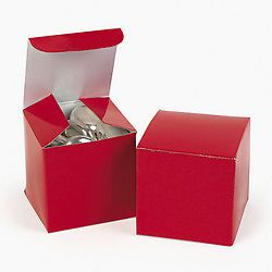 "12 Red 2"" Favor Boxes Wedding Party Supplies"
