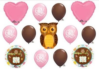 Owl Baby Girl Shower Balloons Decorations Supplies New
