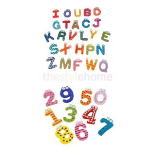 Wooden Letter Alphabet Numbers Refrigerator Fridge Magnets Kids Learning Toy