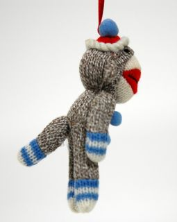 Sock Monkey Ornament Blue Plush Classic Retro Style Toy Christmas Gift New 5""