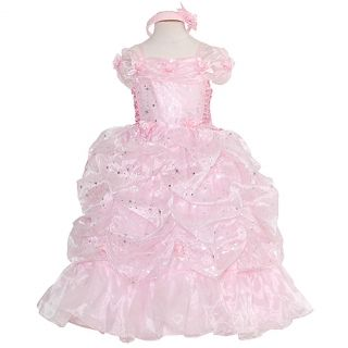 Rain Kids Little Girls 4 Pink Sparkling Stars Pageant Gown Dress