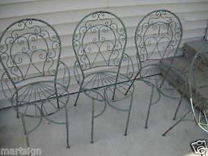 4 Antique Architectural Scupltural Wrought Iron Patio Arm Garden Chairs