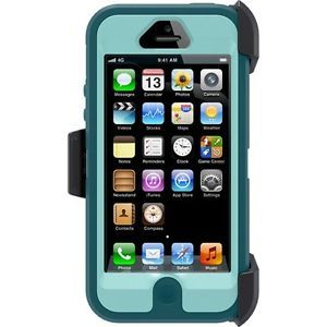 iPhone 5 Otterbox Defender Turquoise Aqua Blue Case with Holster Belt Clip