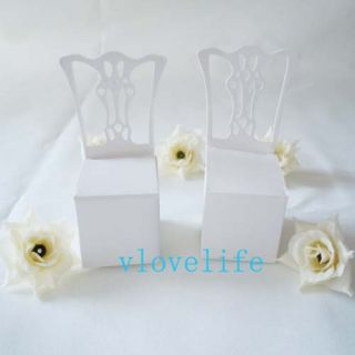 100pcs New White Chair Wedding Party Gift Boxes Favor