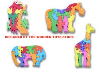 New Childrens Wooden Jigsaw Puzzle Horse Giraffe Parrot Elephant Ideal for Kids