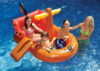 Kids Inflatable Swimming Pool Float Blow Up Fun Pirate SHIP Play Beach Raft Toy
