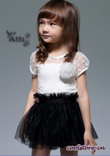 New Hot Kids Girls Grenadine Flower Princess Dress Wedding Party Tutu Skirt Q202