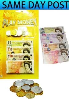 Play Pretend Money Shop Till Notes Coins Kids Role Play Party Bag