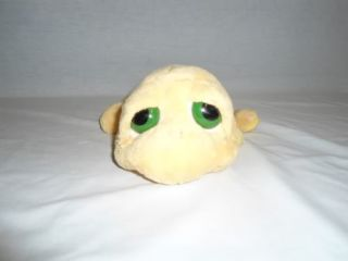 "Russ Berrie Lil Peepers Med 10"" Brown Yellow Turtle Shelly Plush Big Eye Stuffed"